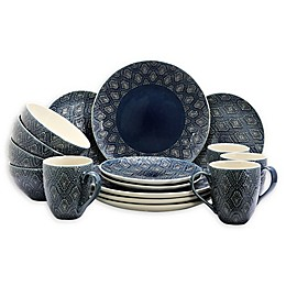 Elama Dark Temptation 16-Piece Dinnerware Set