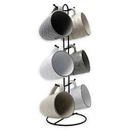 Elama Midnight Glow 7-Piece Mug Set with Rack