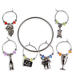 Prodyne Party Time 6-Piece Drink Charm Set in Silver