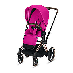 CYBEX Platinum e-Priam Stroller with Rose Gold Frame and Fancy Pink Seat