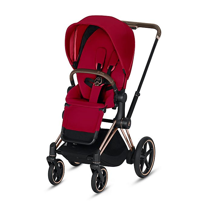Alternate image 1 for CYBEX Platinum e-Priam Stroller with Rose Gold Frame and True Red Seat
