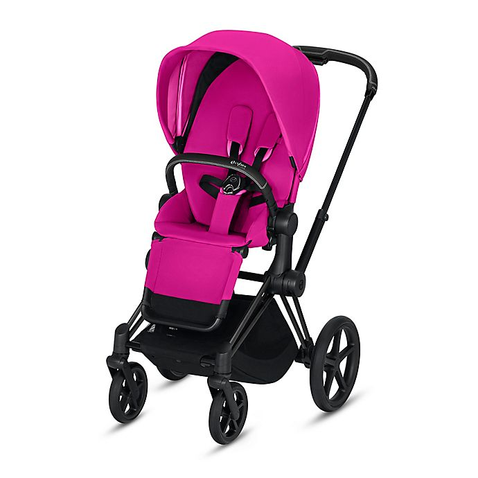 Alternate image 1 for Cybex Platinum e-Priam Stroller with Matte Black Frame and Fancy Pink Seat