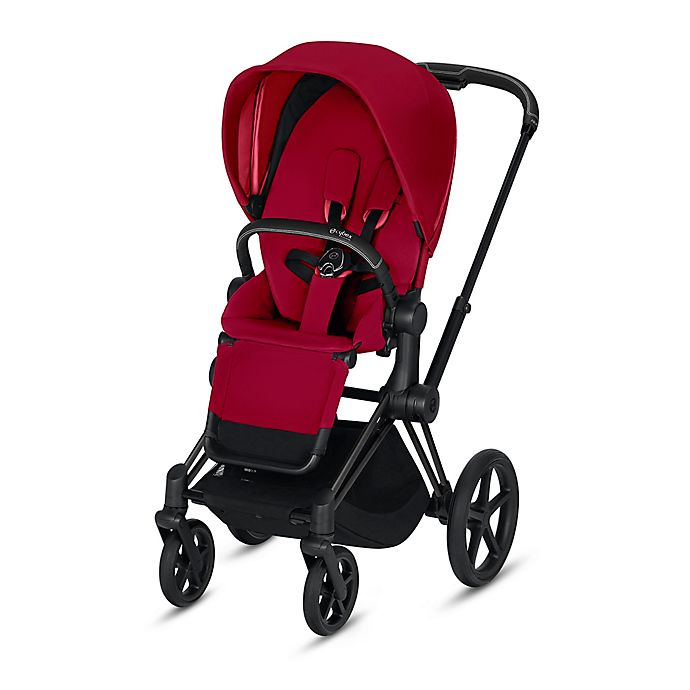 Alternate image 1 for Cybex Platinum e-Priam Stroller with Matte Black Frame and True Red Seat