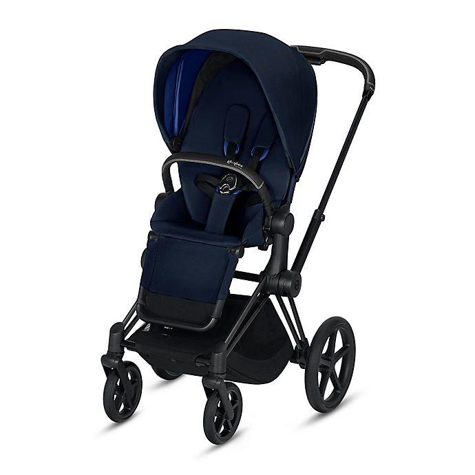 Alternate image 1 for Cybex Platinum e-Priam Stroller with Matte Black Frame and Indigo Blue Seat