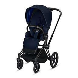 Cybex Platinum e-Priam Stroller with Matte Black Frame and Indigo Blue Seat