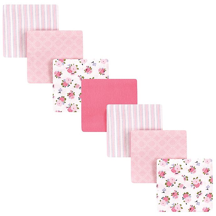 Alternate image 1 for Luvable Friends® 7-Pack Flannel Garden Receiving Blankets in Pink