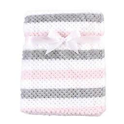Hudson Baby® Plush Waffle Toddler Blanket in Pink/Grey Stripe