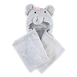 Little Treasure Blossom Elephant Plush Hooded Blanket in Grey