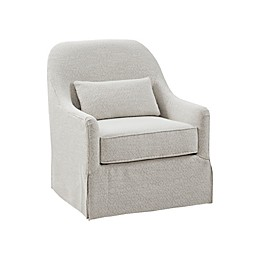 Madison Park Theo Swivel Glider Chair in Ivory/Black
