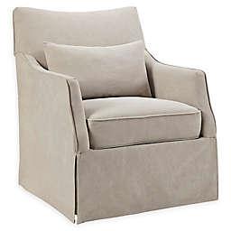 Martha Stewart London Skirted Swivel Chair in Beige