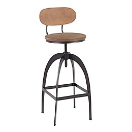 LumiSource® Dakota Bar Stool in Antique Metal/Medium Brown