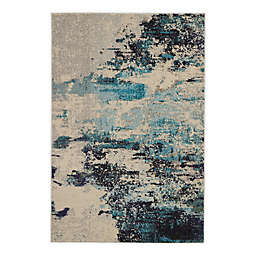 Nourison Celestial Abstract 3'11 x 5'11 Area Rug in Ivory/Teal