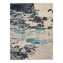 Nourison Celestial Abstract 7'10 x 10'6 Area Rug in Ivory/Teal