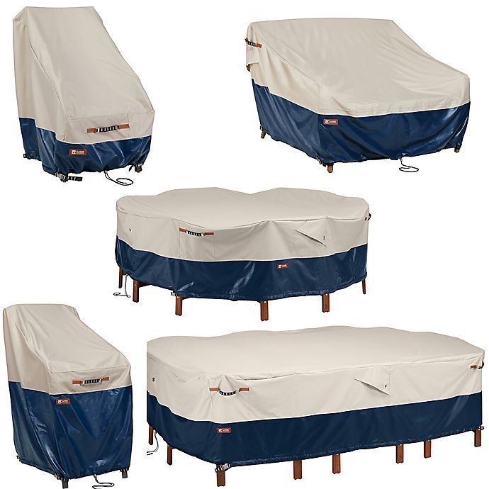 Alternate image 1 for Classic Accessories Mainland™ Patio Furniture Cover Collection in Fog/Navy