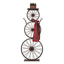 Glitzhome Bike Wheel Snowman 33.98-Inch Indoor/Outdoor Holiday Decoration in Black
