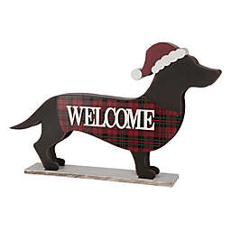 Glitzhome Dachshund 21.93-Inch Indoor/Outdoor Porch Sign in Black