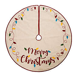 Glitzhome 48-Inch Merry Christmas LED Embroidered Tree Skirt in Natural