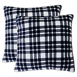Cassidy Classic Plaid Throw Pillows in Navy (Set of 2)