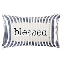 """Thro by Marlo Lorenz """"Blessed"""" Oblong Throw Pillow in Navy"""
