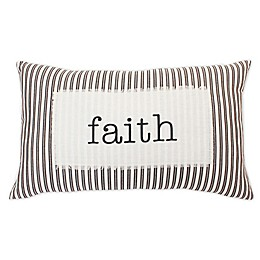 """Thro by Marlo Lorenz """"Faith"""" Oblong Throw Pillow in Charcoal"""