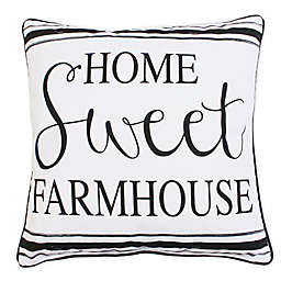 "Thro By Marlo Lorenz Harrison ""Home Sweet Farmhouse"" Square Throw Pillow in Black"