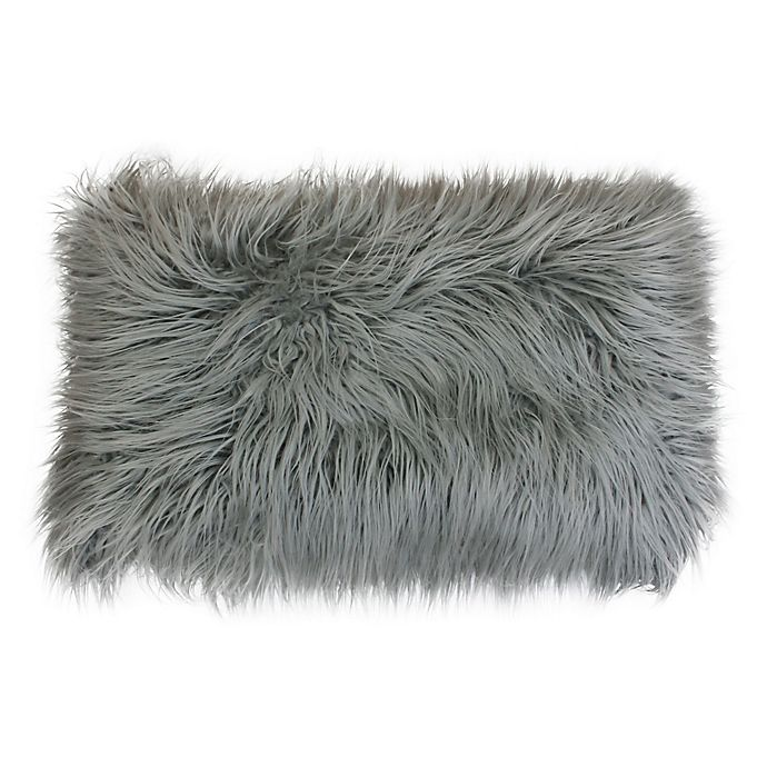 Alternate image 1 for Thro Keller Faux Mongolian Fur Oblong Throw Pillow in Silver