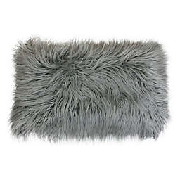 Thro Keller Faux Mongolian Fur Oblong Throw Pillow in Silver