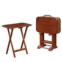 Powell 5-Piece Belvedere Tray Table Set in Dark Cherry