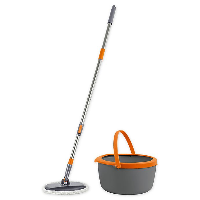 Alternate image 1 for Casabella® Compact Spin Cycle Mop with Bucket Set in Graphite/Orange
