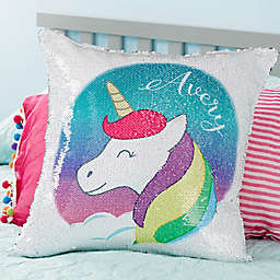 Unicorn Sequin Personalized Throw Pillow