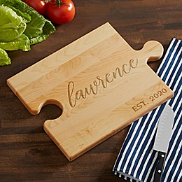 Family Established Personalized Puzzle Piece Cutting Board