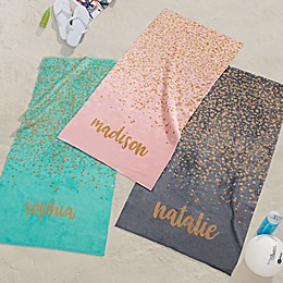 Sparkling Name Personalized Beach Towel