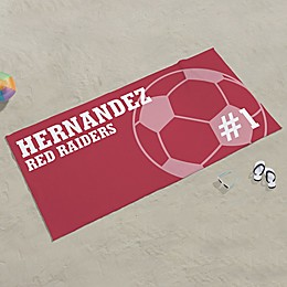 Soccer Personalized Beach Towel