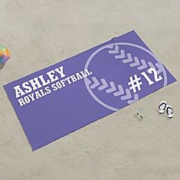 Softball Personalized Beach Towel