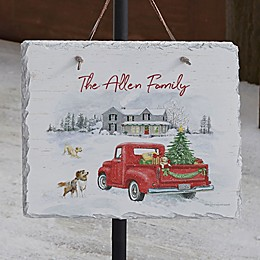 Farmhouse Holiday Personalized Slate Plaque
