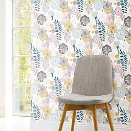 Roommates® Perennial Blooms Vinyl Peel & Stick Wallpaper in Pink