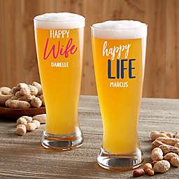 Happy Wife, Happy Life Personalized 20 oz. Pilsner Glass