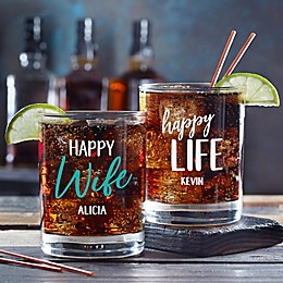 Happy Wife, Happy Life Personalized 14 oz Whiskey Glass