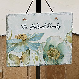 Blue Flowers Personalized Slate Plaque