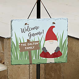 Welcome Gnome Personalized Slate Plaque