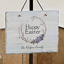 Happy Easter Wreath Personalized Slate Plaque