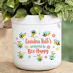 Bee Happy Personalized Outdoor Flower Pot