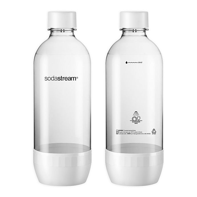 Alternate image 1 for Dishwasher Safe 2-Pack 1L White Carbonating Bottle