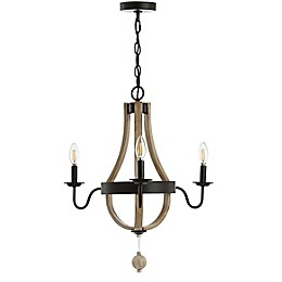 Safavieh Kamari 3-Light Chandelier in Black/Brown