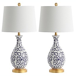Safavieh Avi Table Lamp in Blue/White with Fabric Lamp Shade (Set of 2)
