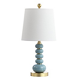 Safavieh Trace Table Lamp in Blue/Gold with Fabric Lamp Shade