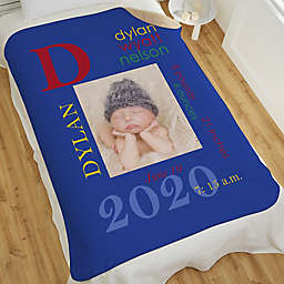 All About Baby Boy Personalized 60-Inch x 80-Inch Sherpa Photo Blanket