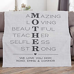 Mother Acronym Personalized Fleece Blanket
