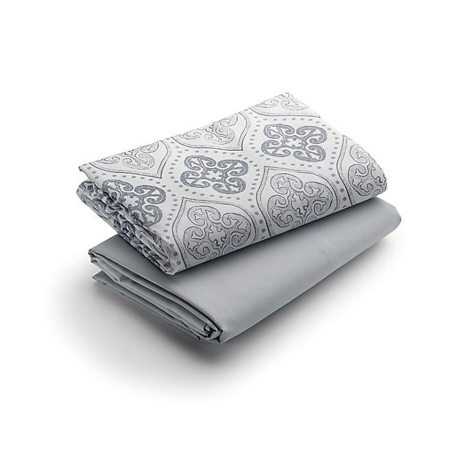 Alternate image 1 for Graco® Quick Connect 2-Pack Waterproof Playard Fitted Sheets in Sterling