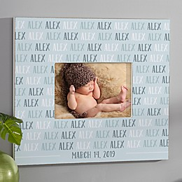 Modern Baby Boy Personalized Repeating Name Horizontal Wall Frame